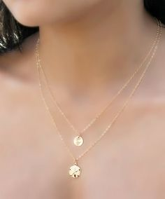 14k gold filled Layered Necklace, double chain, personalized initial disc and Sand dollar, custom stamped tag, beach wedding, ocean jewelry