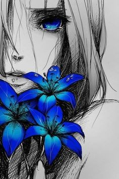 Sad anime girl with blue flowers Art And Illustration, Animal Illustrations, Character Illustration, Anime Triste, Manga Drawing, Manga Art, Life Drawing, Manga Anime, Wie Zeichnet Man Manga
