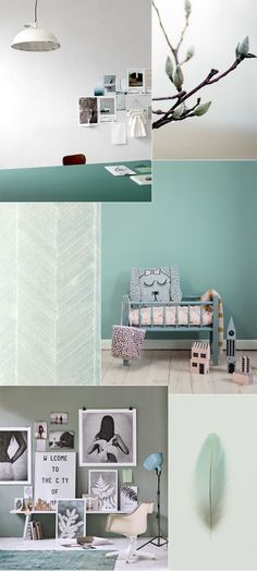 A mood board about interior stylists latest obsession: Pale and dusty green hues. I love it!