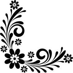 9 Best Images of Floral Corner Drawing - Black Flower Border Clip Art, Flower Border Clip Art and Flower Corner Border Designs Vector Free Stencil Patterns, Stencil Designs, Designs To Draw, Stencils, Stencil Art, Headboard Decal, Page Borders Design, Simple Borders, Flower Template