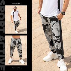 Una prenda estampa que puedes lucir de diferentes formas. Haz clic en la imagen y compra online>>> Parachute Pants, Fashion, Vestidos, Jackets, Pants, Men's Clothing, Shapes, Men, Moda