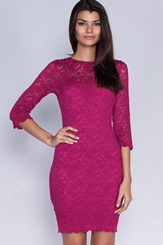 High Neck Lace Formal Short Party Cocktail Prom Dress With Three Quarter Length Sleeves