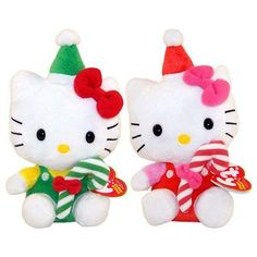 TY Beanie Babies - HELLO KITTY ( Set of 2 - Red & Green Candy Canes