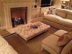 quality deep button footstool in laura ashley caitlyn silver /grey