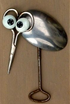 Repurposed salvaged art bird stork, scissors, paint can opener spoon, add eyes by lejardindesbennes blog4 ever. Upcycle, Recycle, Salvage, diy, thrift, flea, repurpose, refashion! For vintage ideas and goods shop at Estate ReSale & ReDesign, Bonita Springs, FL