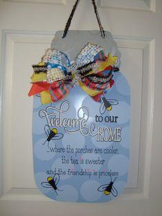 Mason Jar Door Hanger/Summer Door Hanger/Summer Wreath on Etsy, $45.00