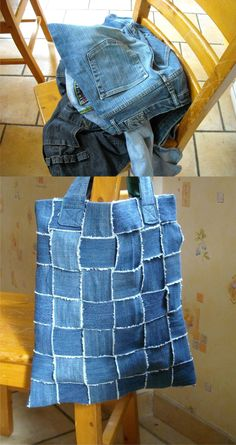 Love this denim themed recycling or upcycling project. Old jeans become a tote bag. Jean Crafts, Denim Crafts, Diy Jeans, Fabric Crafts, Sewing Crafts, Sewing Projects, Jean Diy, Denim Ideas, Recycled Denim