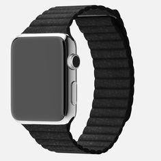 Apple WATCH Cassa 42 mm Acciaio inossidabile 316L Vetro in cristallo di zaffiro Display Retina Fondo in ceramica Loop in pelle Pelle nera Chiusura magnetica