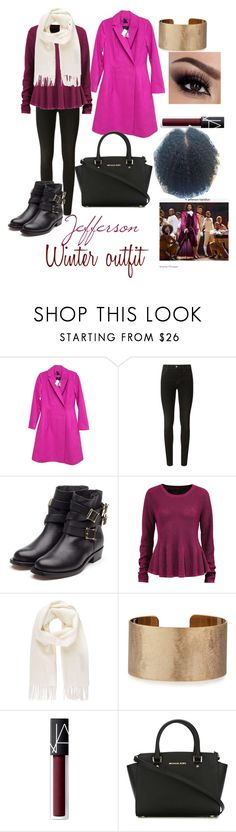 """""""Jefferson Winter Outfit"""" by k-fashion02 ❤ liked on Polyvore featuring Kate Spade, J Brand, Rupert Sanderson, Ellos, Vivienne Westwood, Panacea, NARS Cosmetics and MICHAEL Michael Kors"""