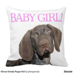 Glossy Grizzly Puppy Girl Throw Pillows