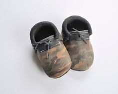 Leather camo loafers by NorthoftheRiverMoccs on Etsy