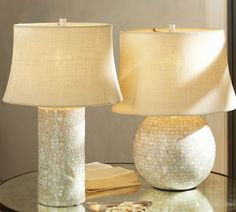 Mother-of-Pearl Table Lamp Bases | Pottery Barn.  Love these for the bedroom!