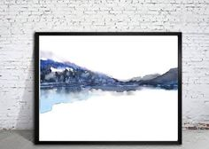 Modern Landscape Print of Abstract Watercolor Painting. 20x30 inches and 24x32 inches (or 19.5x29.5 and 23.5x31.5 with 1/4 white border on each