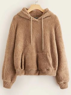 Shop Drawstring Detail Pocket Front Teddy Hoodie at ROMWE, discover more fashion styles online. Sweat Shirt, Women's Sherpa Pullover, Hooded Sweatshirts, Hoodies, Cropped Hoodie, Cute Shirts, Fashion News, Fashion Styles, Fashion Blogs