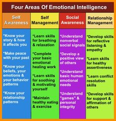 The four domains of emotional intelligence clearly described. Learn about self awareness, self management, social awareness and relationship management. Coping Skills, Social Skills, Life Skills, Social Work, What Is Emotional Intelligence, Intelligence Quotes, Social Awareness, Self Awareness, Emotional Awareness