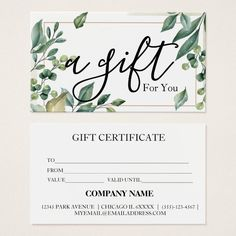 Simple & Modern Business Gift Certificate Card. Free Printable Gift Certificates, Templates Printable Free, Free Gift Voucher Template, Gift Card Template, Spa Business Cards, Business Gifts, Business Ideas, Certificate Design, Certificate Templates