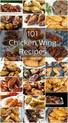 101 Finger-Licking Good Chicken Wing Recipes- We love us some chicken wings and now we're sharing 101 delicious recipes with you. Cooking Chicken Wings, Chicken Wing Sauces, Baked Chicken Wings, Grilled Chicken, Chicken Tenders, Chicken Breasts, Turkey Recipes, Meat Recipes, Seafood Recipes