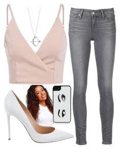 """""""Liza Koshy"""" by hazelnut2002 ❤ liked on Polyvore featuring Gianvito Rossi, Paige Denim and Kate Spade"""