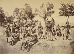 Second Anglo - Afghan war. 1878 - 1880 : soldiers of the 51st Infantry Yorkshire Regiment.