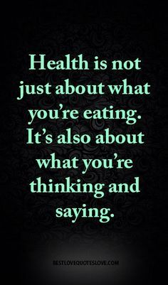 Health is not just about what you're eating. It's also about what you're…