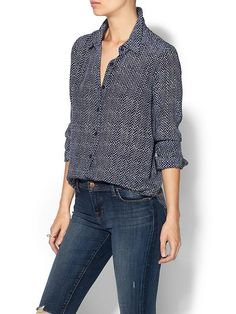 Printed Washed Silk Blouse