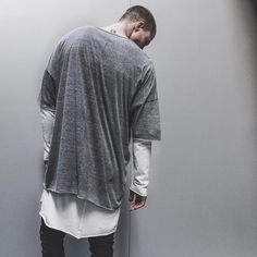 heather grey oversized tee x l/s crew long // lessons concept store