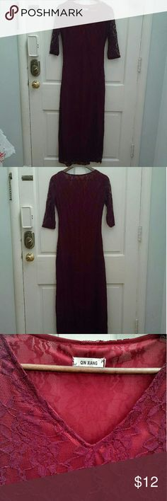 NWOT lace maxi dress NWOT maroon lace maxi dress. Top layer is maroon lace, maxi length and elbow length sleeves. Lining is almost red, also maxi length and sleeveless, so the lace along the sleeves is see-through. High slit up the left leg goes to my mid-thigh, maybe a tad higher. Stretchy and fitted material. No size tag - I am a 4 and it fits nicely, flattering but not skin tight. I think it would also fit a 6 but would definitely be tighter.  Lace may have a few loose strings here and…