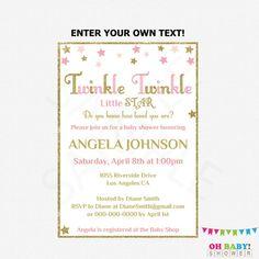 Twinkle Twinkle Little Star Baby Shower Invitation by OhBabyShower