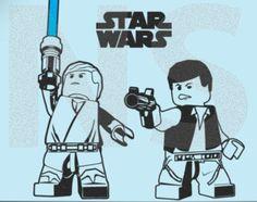LEGO star wars, luke sky walker & han solo vinyl wall art sticker, 842mm(w) x 1000mm(h)