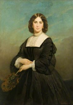 "Edouard Louis Dubufe: ""Madame Gambart"", 1862,  oil on canvas, Dimensions:	Height: 129 cm (50.79 in.), Width: 91.5 cm (36.02 in.), Letchworth Museum and Art Gallery  (United Kingdom - Letchworth Garden City)."