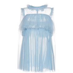 MSGM Light Tulle Babydoll Dress ($590) ❤ liked on Polyvore featuring dresses, sleeveless dress, overlay dress, tulle dress, sheer dress and blue baby doll dress