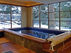 Endless Pool swim spa. Ours is similar, but floor is also tiled.