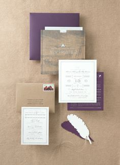 Eggplant and white wedding invitations: http://www.stylemepretty.com/2013/09/03/sedona-wedding-from-aaron-delesie-lisa-vorce-mindy-rice/ | Photography: Aaron Delesie - http://www.delesieblog.com/