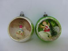 2 VINTAGE MERCURY GLASS DIORAMA CHRISTMAS ORNAMENTS Church and Angel | eBay