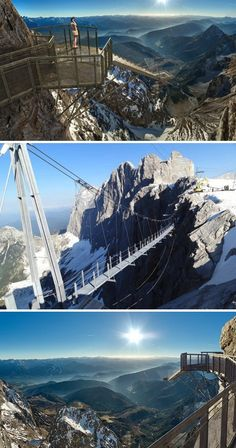 An eye-catching new glass platform at Austria's Dachstein glacier lets visitors walk out on a ledge some 1,300 feet above snow-covered cliffs. The area has long been a year-round destination for adventure seekers. Visitors must cross the highest suspension bridge in Austria. The bridge and platform overlook surrounding mountains and valleys.