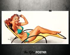 Sun Kissed - Gil Elvgren, 1948 - Bathing Suit Women, Pin Up, Pin Up Girl, Gifts For Him, Man Cave Decor, Man Cave Wall Art, Man Cave Gifts by TheRetroPoster on Etsy