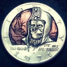 """""""Planet of the apes"""" by Donny Jenkins Plant Of The Apes, Hobo Nickel, Coin Art, Kennedy Half Dollar, Coin Collecting, Coins, Carving, Workshop, Dragon"""