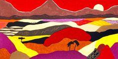 Ronald Boonacker - Tanzania II - Zeefdruk. Prachtige warme kleuren! Rood, roze, geel...
