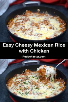 Easy Cheesy Mexican Rice with Chicken is just in time for Cinco de Mayo It s an amazing one-pot meal with an incredible blend of flavors and textures It makes a lot so be prepared for yummy leftovers Cheesy Mexican Rice, Cheesy Rice, Mexican Rice Recipes, Rice Recipes For Dinner, Easy Meat Recipes, Chicken Recipes, Easy Meals, Cooking Recipes, Healthy Recipes