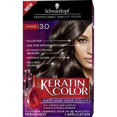 Schwarzkopf Keratin Color Anti-Age Hair Color Kit, 3.0 Espresso