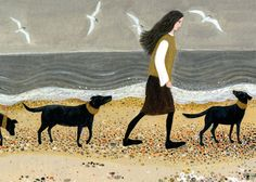 Walking the Dogs greeting card by Dee Nickerson
