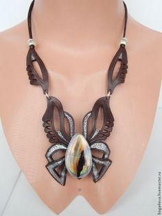 Купить Колье БАБОЧКА - авторская работа, натуральная кожа, натуральные камни, купить, купить подарок: