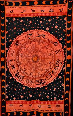 Beautiful Horoscope Tapestry, Indian Tapestry, Hippie Tapestry, Bed Cover, Bohemian Tapestry, Indian Wall Hanging, Indian hippy Tapestries