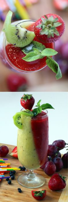 Strawberry Kiwi Frozen Mojitos