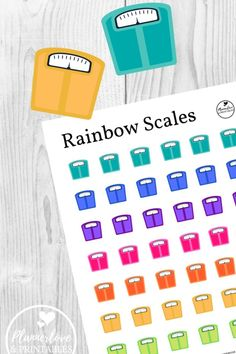 Rainbow Scale Stickers - Plannerlove & Printables Free printable rainbow scale stickers to brighten up your health and fitness journey! Free Planner, Happy Planner, Printable Planner, Planner Stickers, Planner Ideas, Free Printable Stickers, Free Printables, Binder Organization, Organizing