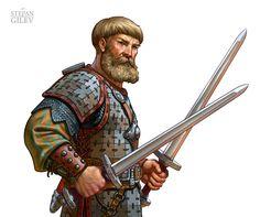 ArtStation - Warriors., Stepan Gilev Dungeons And Dragons Classes, Dungeons And Dragons Characters, Dnd Characters, Fantasy Characters, Fantasy Warrior, Fantasy Rpg, Medieval Fantasy, Character Concept, Character Art