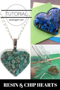 Resin and Chip Heart Jewelry and Home Decor Tutorial Harz und Chip Herz Schmuck und Home Decor Tutorial Resin Jewelry Tutorial, Resin Jewlery, Making Resin Jewellery, Resin Tutorial, Jewelry Making Tutorials, Gold Jewelry, Diy Resin Art, Diy Resin Crafts, Uv Resin
