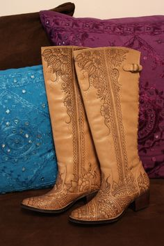 Pyrogaphed Henna Style Leather Boots Size 6.5 $260