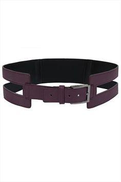 Purple PU Cut Out Wide Waist Belt With Elasticated Band