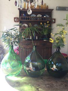Grand Vase dame jeanne vintage vert bouteille de la boutique sosthen sur Etsy